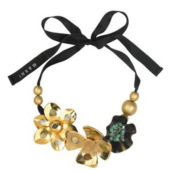 ribbon new necklace chain dus black dustbag stones fashion green gold marni and uk beads sequins